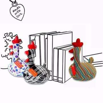 Monica Richards London 動物造型書擋 - 母雞 a.經典條紋