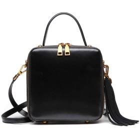 婦人用バッグ 女性のハンドバッグPUレザーハンドバッグショルダーバッグ防水メッセンジャーバッグハンドバッグ大バッグ トレンディな女性 (Color : Black)
