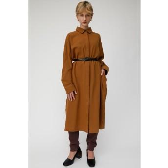 マウジー moussy CREPE SHIRT DRESS (ブラウン)