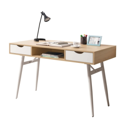 文創集 卡妮卡現代4尺二抽書桌/電腦桌-120x60x76cm免組