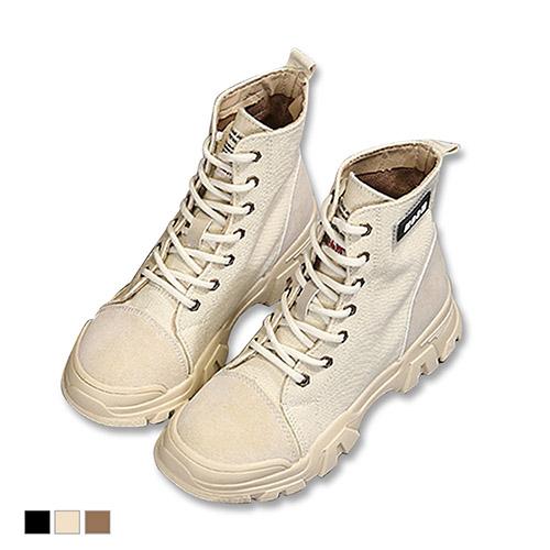 短靴.單寧綁帶厚底登山靴