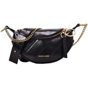 メッセンジャーバッグのチェスト女性のリングチェーン装飾された女性のポータブルショルダーバッグ,黒