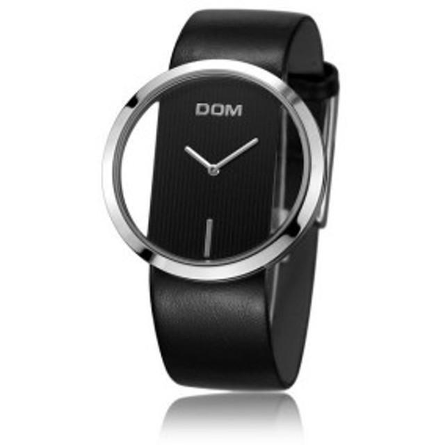 DOM レディース 腕時計 高級ファッション カジュアル 30メートル防水 クォーツ時計 スポーツ ブラック【領収発行可】