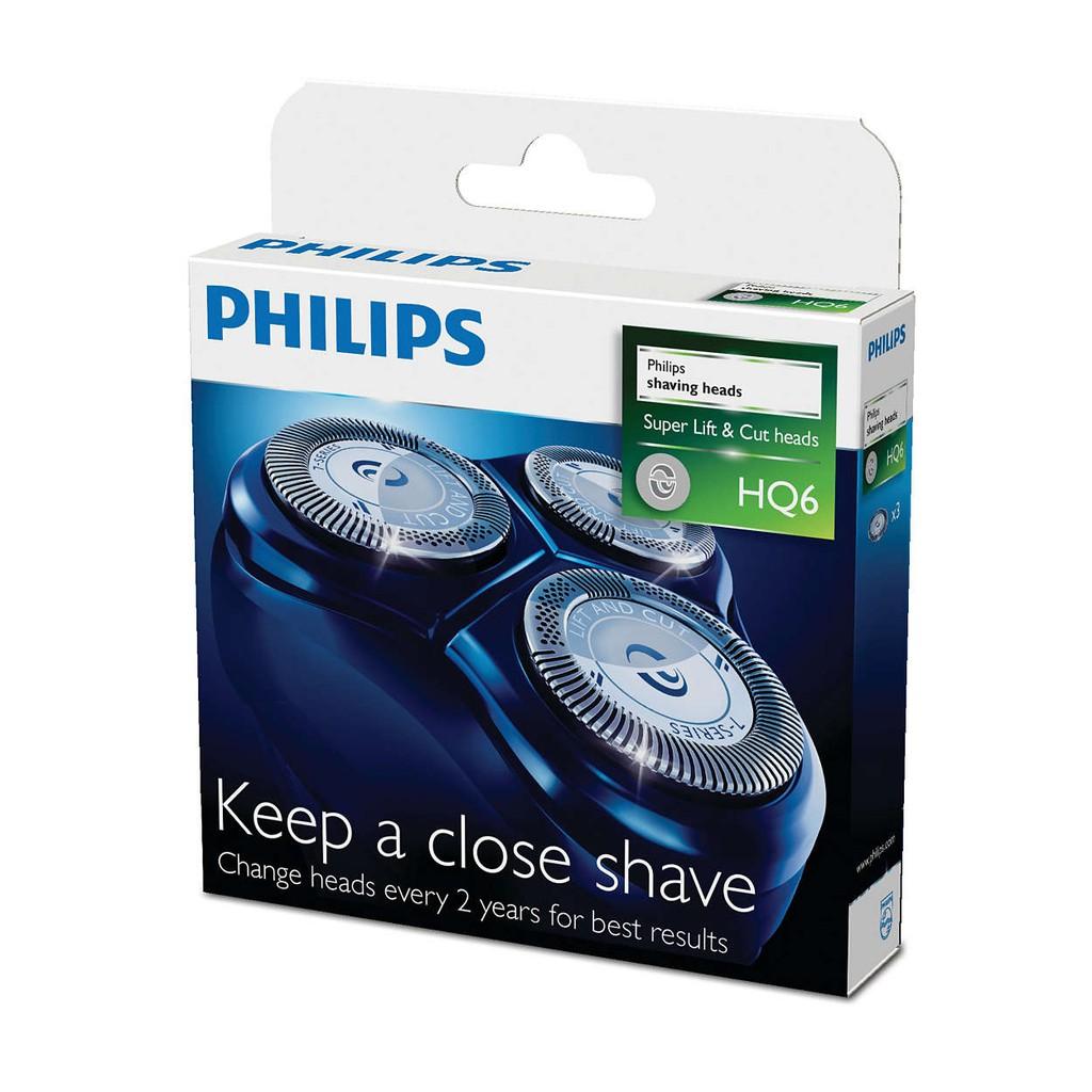 PHILIPS-飛利浦 (一盒三顆裝)原廠刮鬍刀片刀網組 HQ6(三片裝)適用HQ662/HQ686