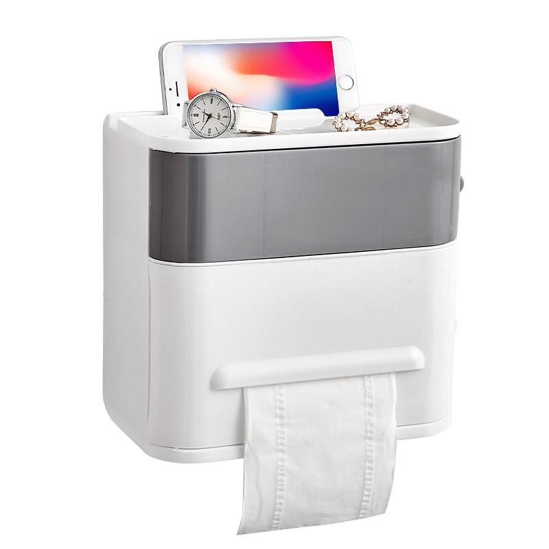 衛生間廁所紙巾盒免打孔卷紙筒抽紙廁紙盒防水衛生紙置物架手紙盒