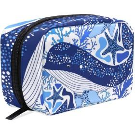 GUKISALA 化粧ポーチ,パターンクジラベクトル航海印刷テクスチャ,大容量コスメケース多機能旅行用高品質収納ケース メイク ブラシ バッグ 化粧バッグ ファッションバッグ