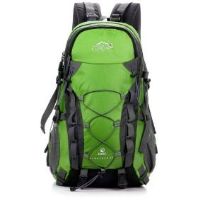 登山バッグ 40l高容量ハイキング旅行バックパック防水キャンプ登山リュックサックデイパックカレッジスクールバックパックユニセックス 登山リュック・ザック (色 : 緑, サイズ : ワンサイズ)