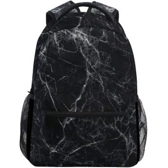 MISCERYリュックサック,黒い大理石の石のテクスチャ自然抽象,大容量の学生の子供のバックパックの若者の男性と女性は、ファッション性格カスタムパターン旅行バッグ耐久性のあるスポーツアウトドアを