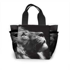 長方形のシングキングライオン トートバッグ 買い物バッグ レディース おしゃれ バッグ ハンドバッグ エコバッグ 人気 ランチバッグ