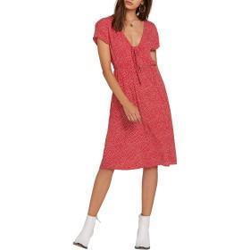 VOLCOM(ボルコム) トップス ワンピース Volcom Boo Tie Neck Knee Length Dress (R Red レディース [並行輸入品]