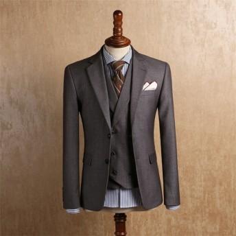 送料無料 春秋スーツ 紳士スーツ メンズ 3点セット 3ピーススーツ 上下セット ビジネス 結婚式 スリムスーツ パーティー カジュアルスーツ 二次会 お洒落 上品 高級感溢れる 大人っぽい