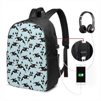クジラオーシャンオーカスパステルブルー リュック バックパックリュックサック USB充電ポート付き イヤホン穴付き 大容量 PCバッグ レジャーバッグ 旅行カバン 登山リュック ビジネスリュック ユニセックス おしゃれ 人気