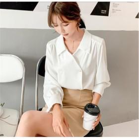 高品質!100%好評 2019年秋と冬の新しい 韓国ファッション デザインセンス ニッチ 気質 ラペル 長袖 ダブルボタン ゆったり スリム シャツ