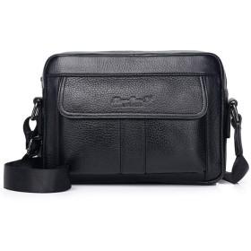 ショルダーバッグ 斜め掛けバッグ ビジネスメッセンジャーバッグ iPadmini収納 メンズ 本革 肩掛け 軽量 就活 仕事 通勤 通学 出張 ブラック Sサイズ