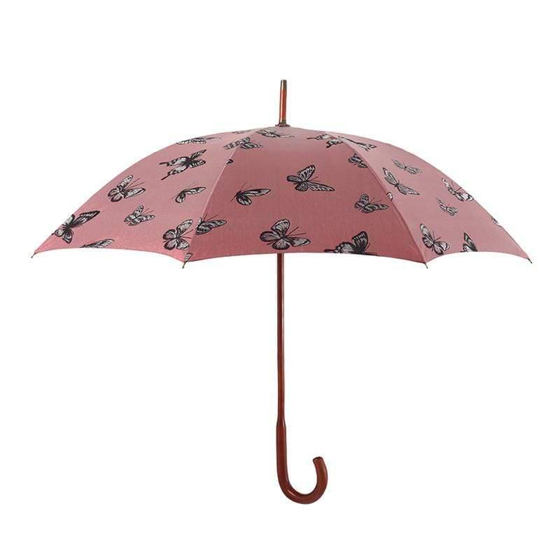 抗UV-紅點設計師-優雅蝴蝶-全楓木手把-經典洋傘 -直柄傘-紅