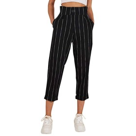 ポケットのズボンの女性の服2019を持つ女性のパンツストライプスリムストレートレッグカジュアルボタンパンツ (Color : Black, Size : S)