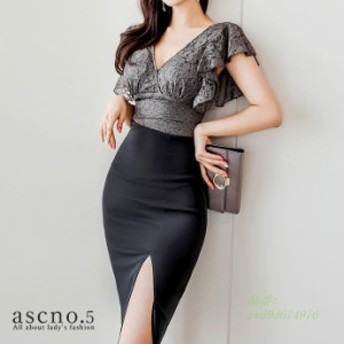 Vネック セクシー ウエストリボン パーティー 韓国スタイル フレアスリーブ ブラック ハイウエスト ワンピース 韓国ファッション キャバ