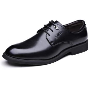 [GERUIQI] 古典的なシンプルなピュアカラーソールフォーマルシューズメンズビジネスオックスフォードカジュアル快適な 快適な男性のために設計 (Color : ブラック, サイズ : 24 CM)