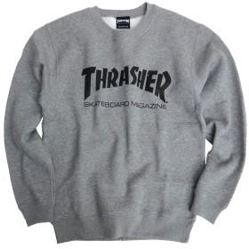 THRASHER トレーナー ロゴプリント スウェット トレーナー スラッシャー マグロゴ トップス (Mサイズ, ヘザーグレー/ブラック)