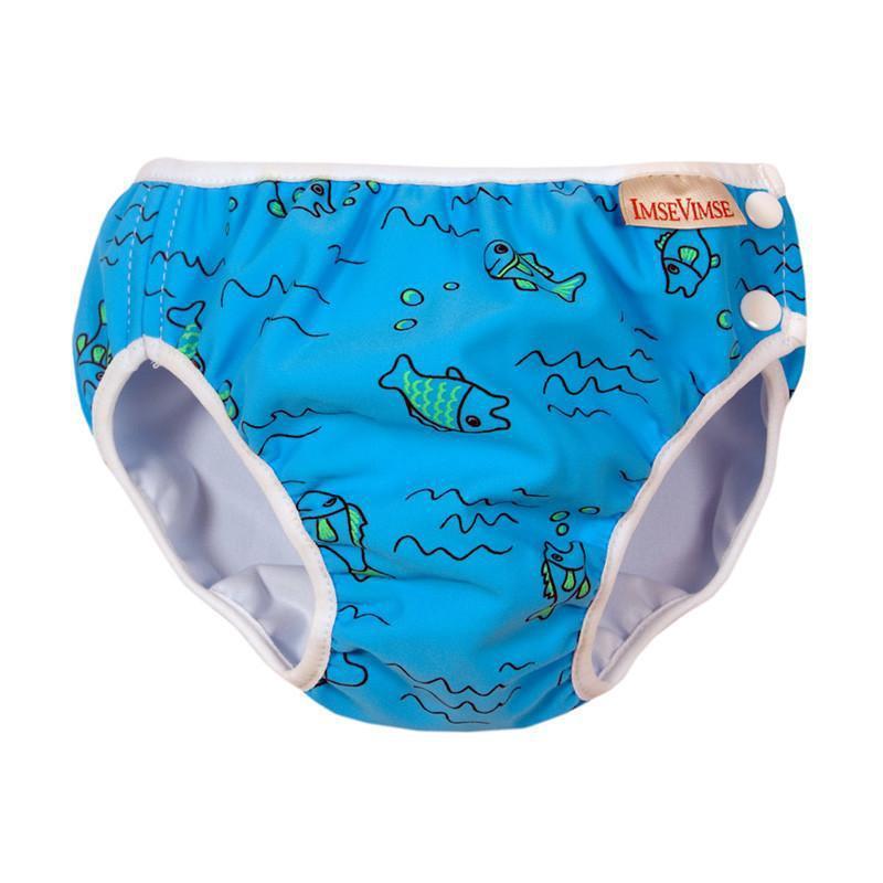 超彈性防漏游泳尿褲(水藍小魚) Medium 7-10kg