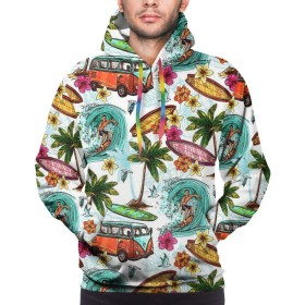 パーカー 長袖シャツ メンズ ポケットある 海辺でサーフィン プリント ゆったり スウェット 大きいサイズ プルオーバー 春 秋 冬