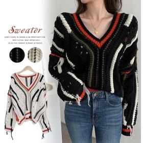 Vネック おしゃれ ゆったり ニット 韓国ファッション レディース トップス セーター 可愛い 切り替え色