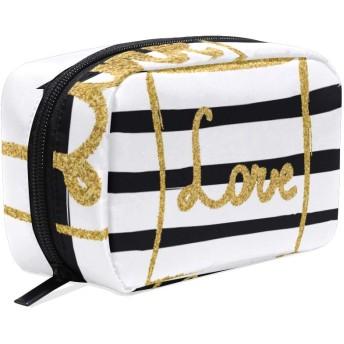 GUKISALA 化粧ポーチ,シームレスパターン手描きゴールドラメ,大容量コスメケース多機能旅行用高品質収納ケース メイク ブラシ バッグ 化粧バッグ ファッションバッグ