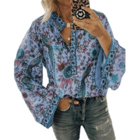 Valoda Women Long Sleeve Loose Henley Button Up Blouse Top Print Shirt Blue US XS