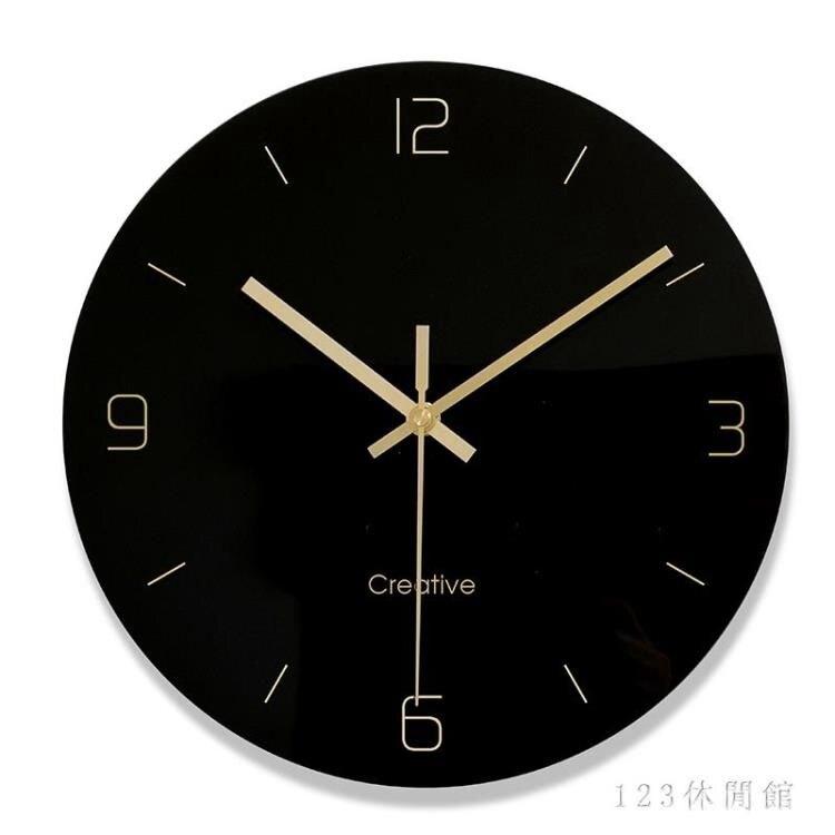 黑膠唱片掛鐘客廳圓形創意時鐘表簡約現代個性大氣家庭靜音石英鐘 AW17712