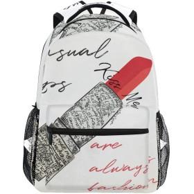 MISCERYリュックサック,ファッションベクトルイラスト赤い口紅の言葉,大容量の学生の子供のバックパックの若者の男性と女性は、ファッション性格カスタムパターン旅行バッグ耐久性のあるスポーツアウトドアを