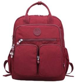 軽量ナイロンバックパック防水スクールバッグマルチポケットショルダーバッグ (Color : Jujube, Size : 301138cm)