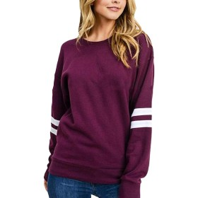 Valoda Women's Athletic Pullover Stripe O Neck Long Sleeve T Shirts Top Sweatshirt 1 US XL