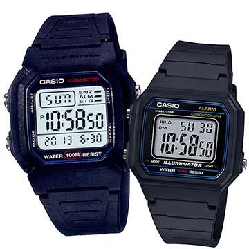 【CASIO】 簡單液晶顯示休閒電子對錶-(W-800H-1A+W-217H-1A)