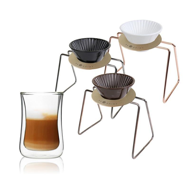風雅陶瓷濾杯+木片+鐵架+雙層曲線杯280ML經典組(3色可選) 黑濾杯+金屬原色鐵架