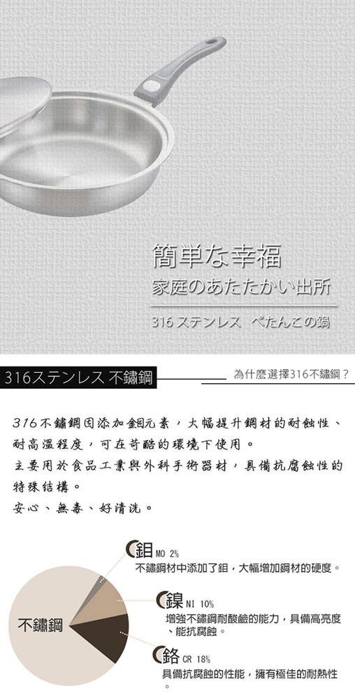 極緻316七層複合金平底鍋-28cm附蓋 kh-21128