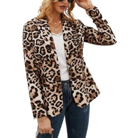 Valoda Women Leopard Print One Button Slim Fit Club Long Sleeve Casual Blazer Jacket Coat Black US M