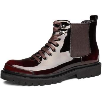 [WEWIN] サイドゴアブーツ 厚底ブーツ メンズ 本革 エナメル 革靴 ウイングチップ ローカット ドレスブーツ チェルシーブーツ マーティン靴 紳士靴 冠婚葬祭 ビジネス カジュアル 防滑 履きやすい ファッション イングランド風