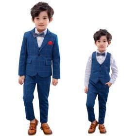 子供服 ボーイズフォーマルスーツ 男の子フォーマルスーツ 子ども用チェック柄スーツ ジャケット ベスト ズボン3点セット 入学式 発表会 結婚式 七五三に対応 選べる7サイズ 120cm