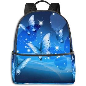 青い蝶のデザイン リュック バックパックリュックサック 大容量 PCバッグ レジャーバッグ 旅行カバン 登山リュック ビジネスリュック ユニセックス おしゃれ 人気