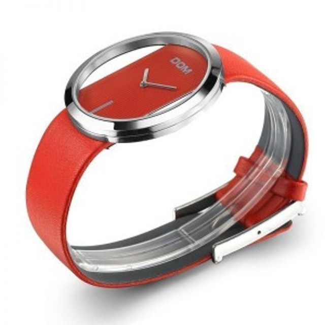 DOM レディース 腕時計 高級ファッション カジュアル 30メートル防水 クォーツ時計 スポーツ レッド【領収発行可】