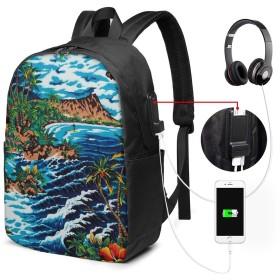 バックパック リュックサック ハワイの水彩画 Usb充電ポート付き 17インチ ノートパソコンバックパック 軽量 超大容量 多機能 耐衝撃 ビジネス カジュアル リュック 通勤 通学 旅行 アウトドア メンズ レディース