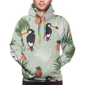 パーカー 長袖シャツ メンズ ポケットある オニオオハシ プリント ゆったり スウェット 大きいサイズ プルオーバー 春 秋 冬
