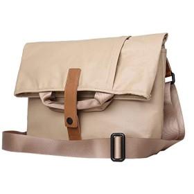 メンズバッグ メンズショルダーキャンバスバッグクロスボディバッグカジュアルポータブル大容量のメンズバッグ (Color : Khaki, Size : S)