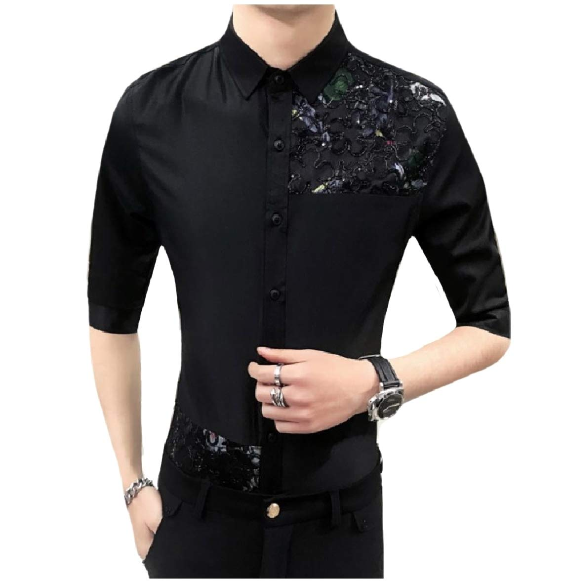 YUNY Mens Premium Button Down Solid Plus Size Fit Shirt AS14 M