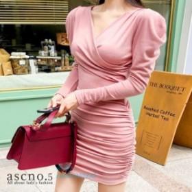 Vネック シック セクシー S ワンピース モノトーン XL シンプル ラップタイプドレス 上品 韓国 ドレス M L フィット感 無地 大人 ワンピ