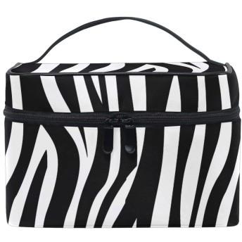 ホワイトブラックアート化粧品 バッグ オーガナイザー ジッパー メイク バッグ ポーチ トイレタリー ケース 女の子 女性用