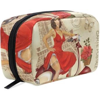GUKISALA 化粧ポーチ,パリのビンテージポスター幸せなピンナップガール,大容量コスメケース多機能旅行用高品質収納ケース メイク ブラシ バッグ 化粧バッグ ファッションバッグ
