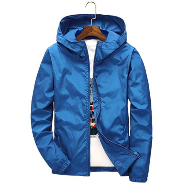 KAWA KANA メンズ ジャケット 軽量 男女兼用 ウィンドブレーカー スポーツウェアジャンバー コート 防風大きいサイズ S~7XL全 8色 (L, ブルー)