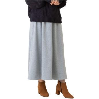 [セレクトリベリー] 裏シャギー フレア ロングスカート ウエスト ゴム 裏起毛 大きいサイズ レディース W-4664 Lグレー LL