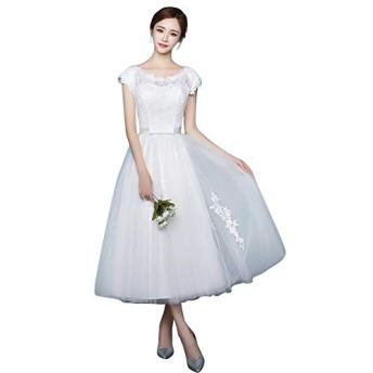 プリンセス お嬢様 デート 体型カバー dress 総レース コサージュ 二次会 発表会 花嫁 挙式 ウエディングドレス (XS, ホワイト)